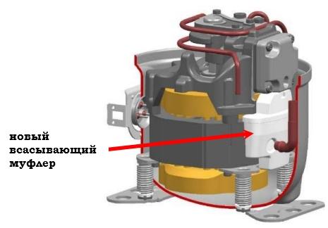 novyi vsasyvayuschii mufler na kompressore Tecumseh AE2